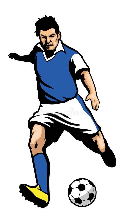Jogador de futebol que dispara em uma bola ilustração royalty free
