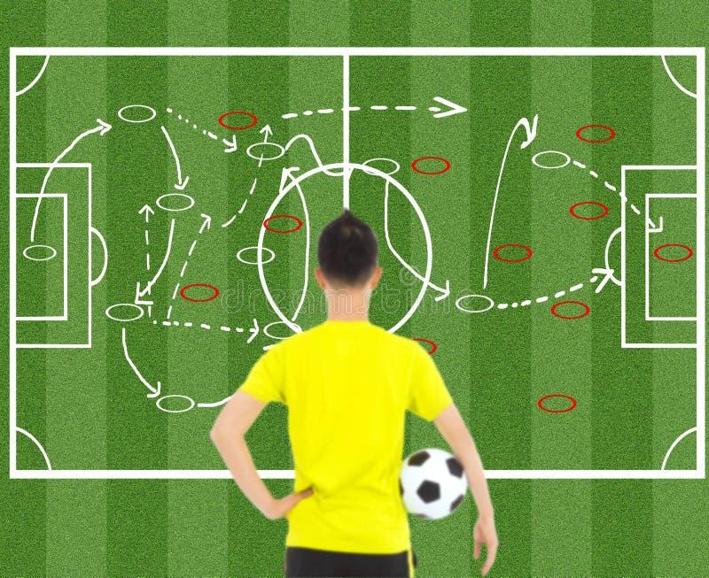 Jogador de futebol que guarda uma bola e que pensa táticas do ataque fotos de stock