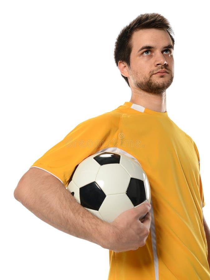 Jogador de futebol que guardara a bola imagens de stock