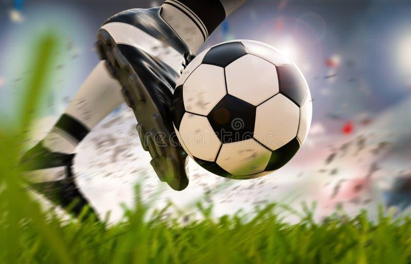 Jogador de futebol que retrocede a bola de futebol no movimento foto de stock