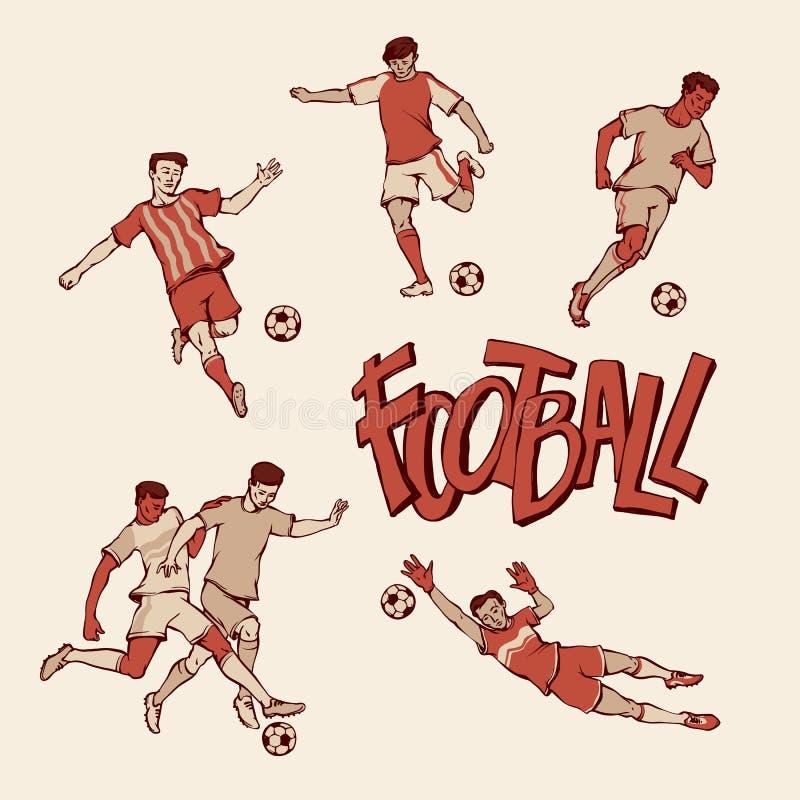 Jogador de futebol retro e goleiros nos esportes uniformes O futebol do vintage faz sinal com a bola em poses e na raça diferente ilustração stock