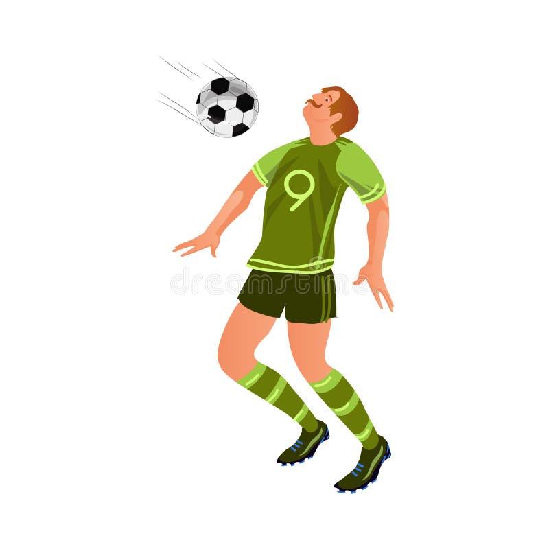 Jogador de futebol superior idoso na bola uniforme da tomada ilustração royalty free