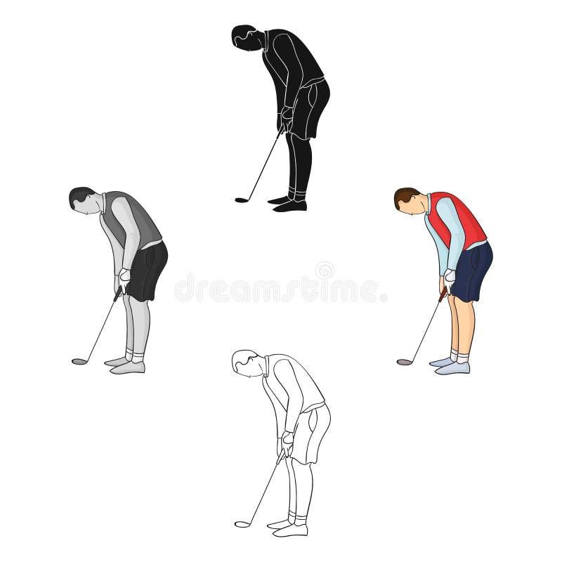 Jogador de golfe antes do ícone do pontapé no estilo dos desenhos animados isolado no fundo branco Ilustração do vetor do estoque ilustração royalty free