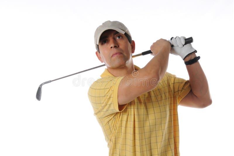 Jogador de golfe após o balanço imagens de stock royalty free