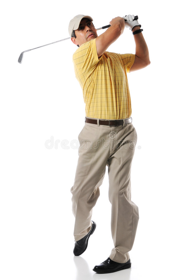 Jogador de golfe após o balanço fotografia de stock