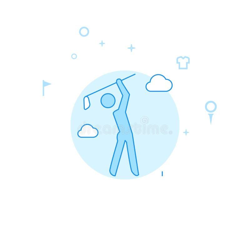 Jogador de golfe após ter batido a ilustração lisa do vetor, ícone Claro - projeto monocrom?tico azul Curso edit?vel ilustração stock