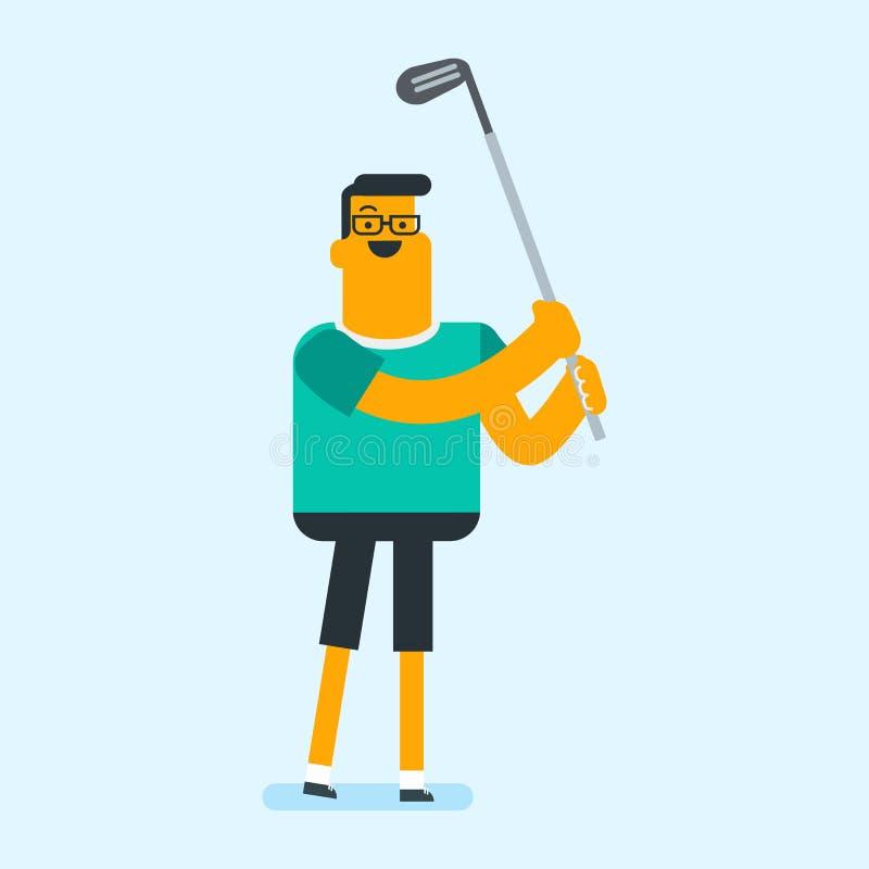 Jogador de golfe branco caucasiano novo que bate a bola ilustração royalty free