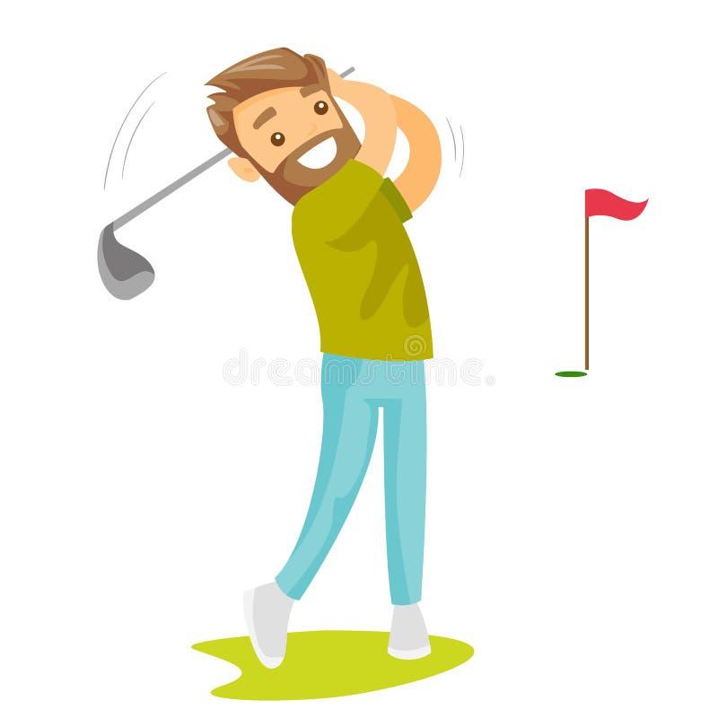 Jogador de golfe branco caucasiano novo que bate a bola ilustração do vetor