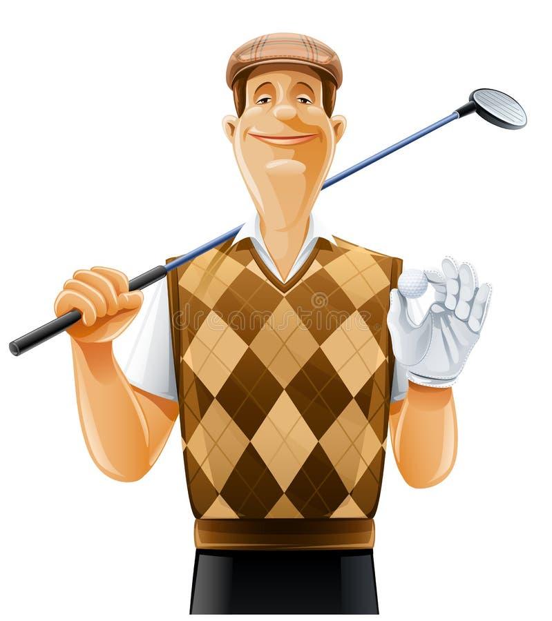 Jogador de golfe com clube e esfera ilustração do vetor