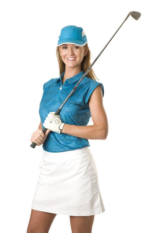 Jogador de golfe fêmea com clube de golfe foto de stock royalty free
