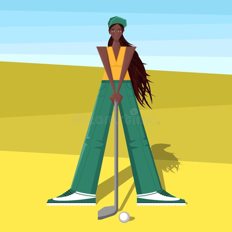 Jogador de golfe f?mea ilustração royalty free