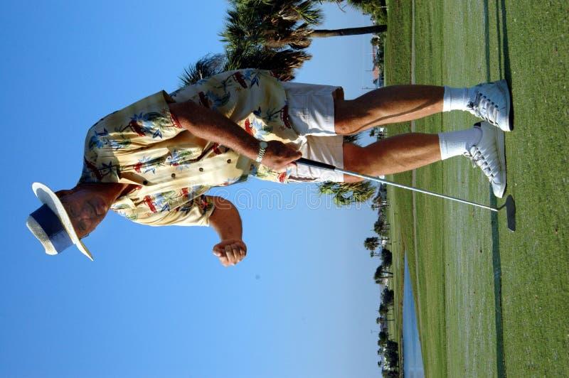 Jogador de golfe feliz fotos de stock