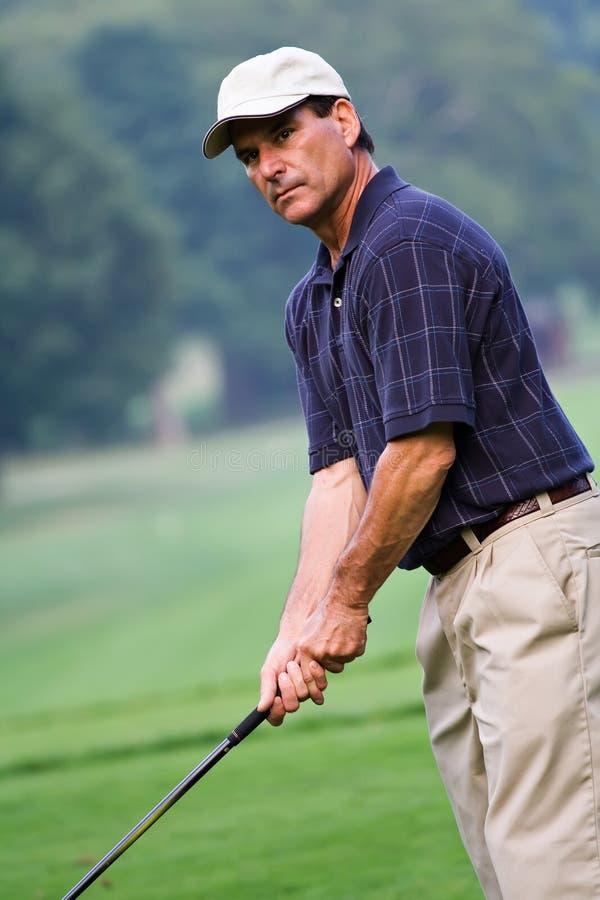 Jogador de golfe maduro fotos de stock