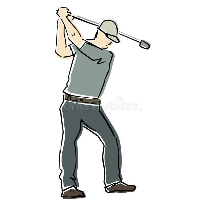 Jogador de golfe masculino na pose ativa Ilustra??o lisa do vetor ilustração do vetor