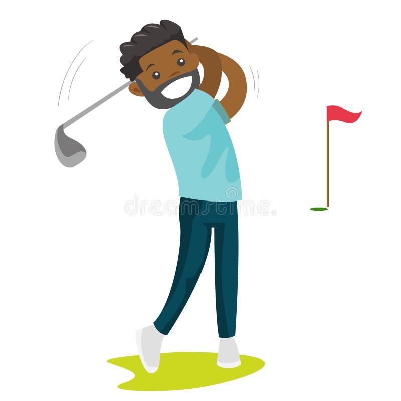 Jogador de golfe preto novo que bate a bola ilustração do vetor