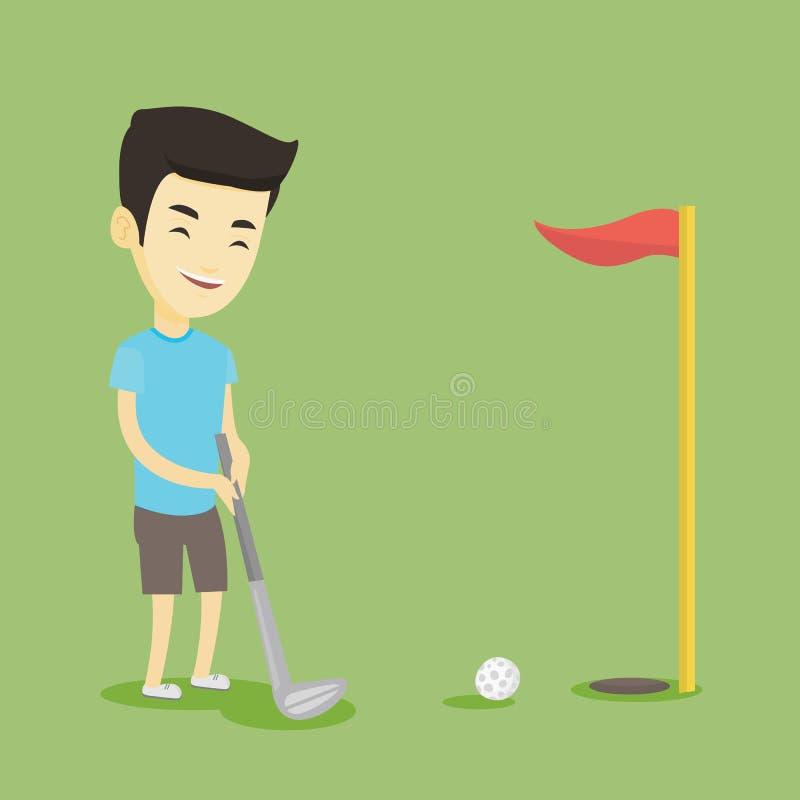 Jogador de golfe que bate a ilustração do vetor da bola ilustração royalty free