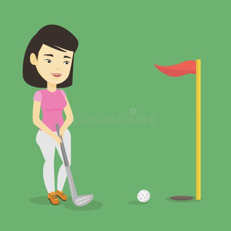 Jogador de golfe que bate a ilustração do vetor da bola ilustração stock