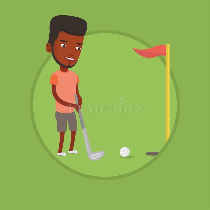 Jogador de golfe que bate a ilustração do vetor da bola ilustração do vetor