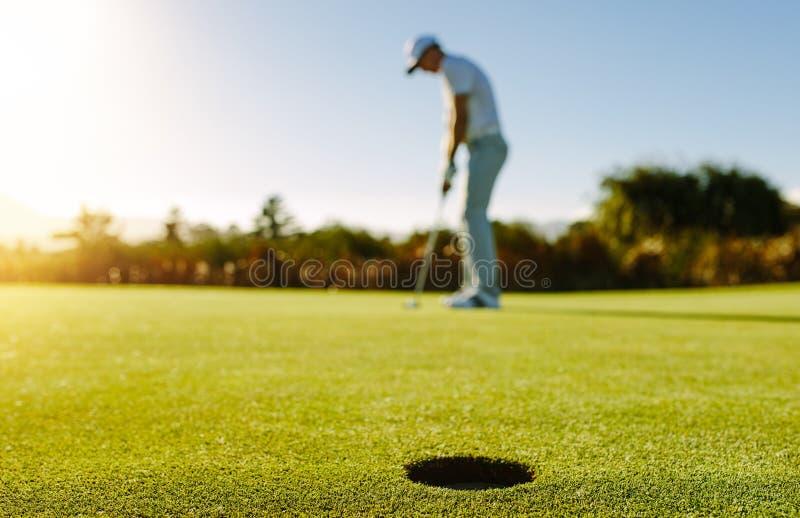 Jogador de golfe que põr a esfera no furo foto de stock royalty free