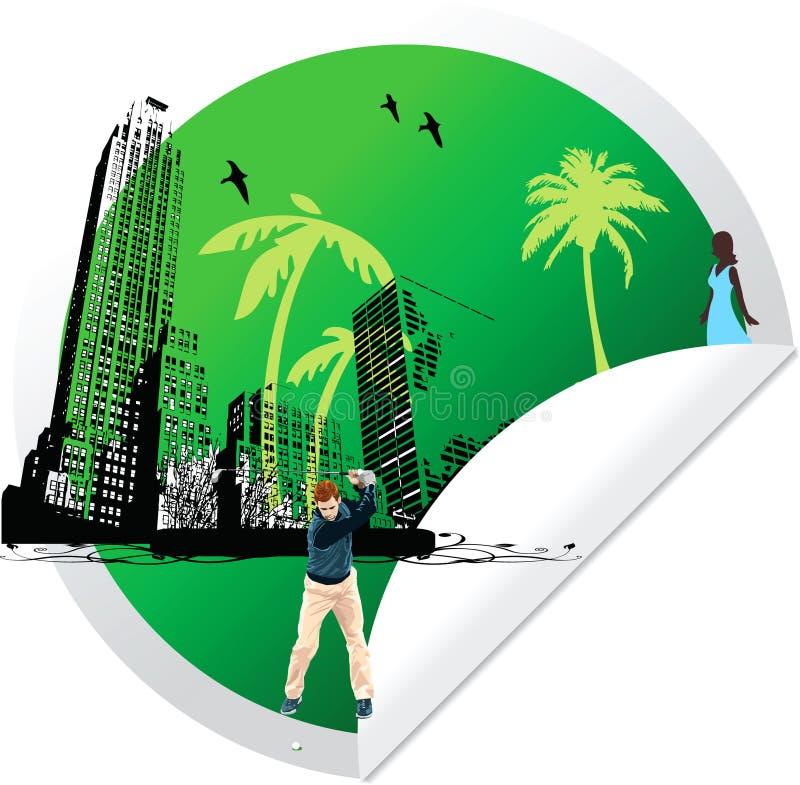 Jogador de golfe verde da sagacidade da etiqueta ilustração do vetor