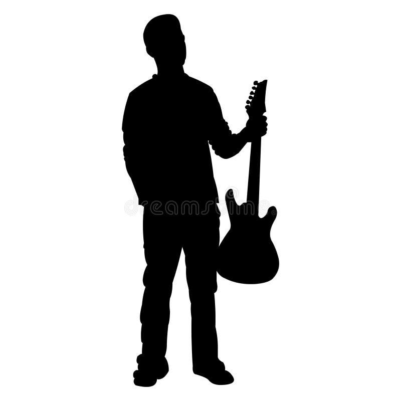 Jogador de guitarra adolescente - silhueta ilustração stock