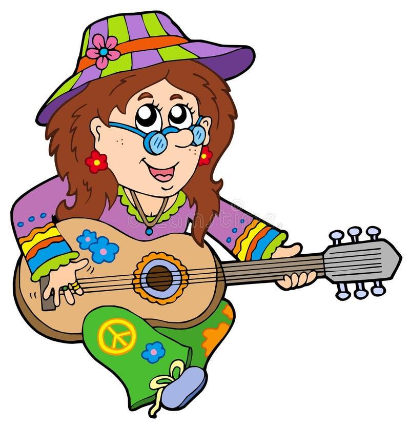 Jogador de guitarra do Hippie ilustração stock