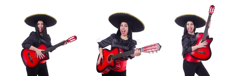 Jogador de guitarra isolado no branco imagem de stock