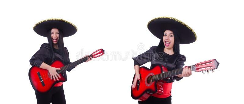 Jogador de guitarra isolado no branco imagem de stock royalty free