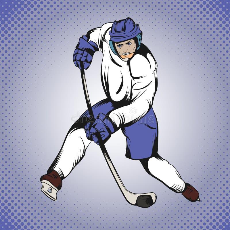 Jogador de hóquei da banda desenhada ilustração do vetor