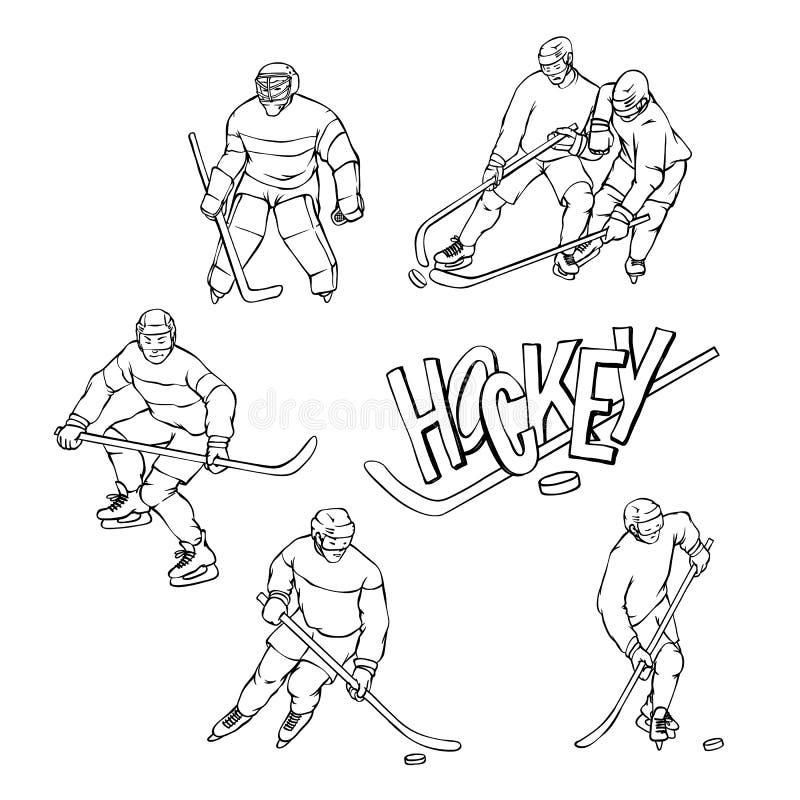 Jogador de hóquei do vetor e goleiros ajustados nos esportes uniformes Letras brancas pretas da ilustração e da inscrição do esbo ilustração do vetor