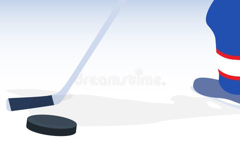 Jogador de hóquei em gelo com vara e disco Ilustração do vetor ilustração do vetor