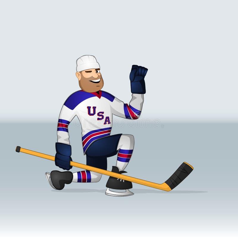 Jogador de hóquei em gelo da equipe dos EUA ilustração do vetor