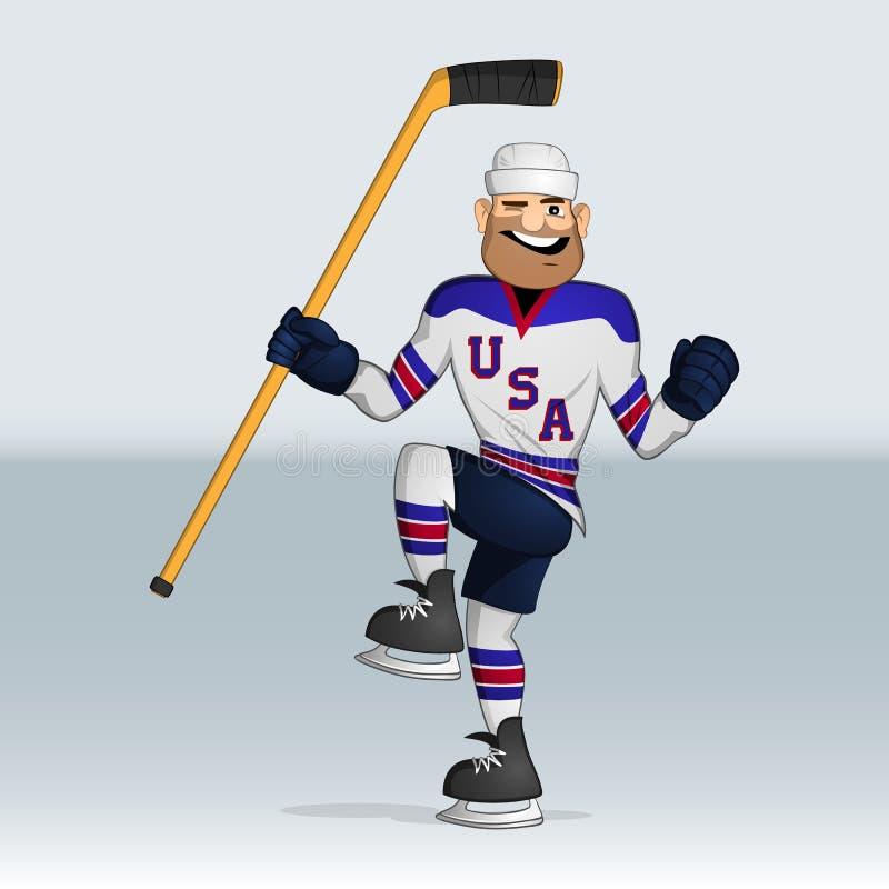 Jogador de hóquei em gelo da equipe dos EUA ilustração stock