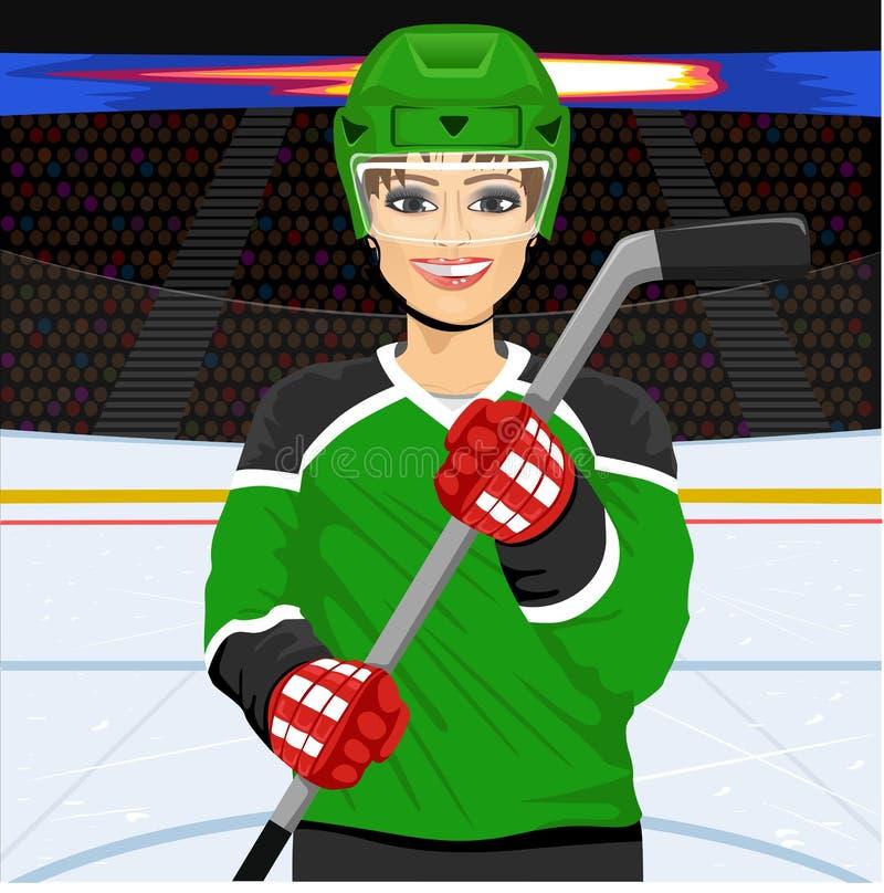 Jogador de hóquei em gelo fêmea com uma vara de hóquei em gelo ilustração stock