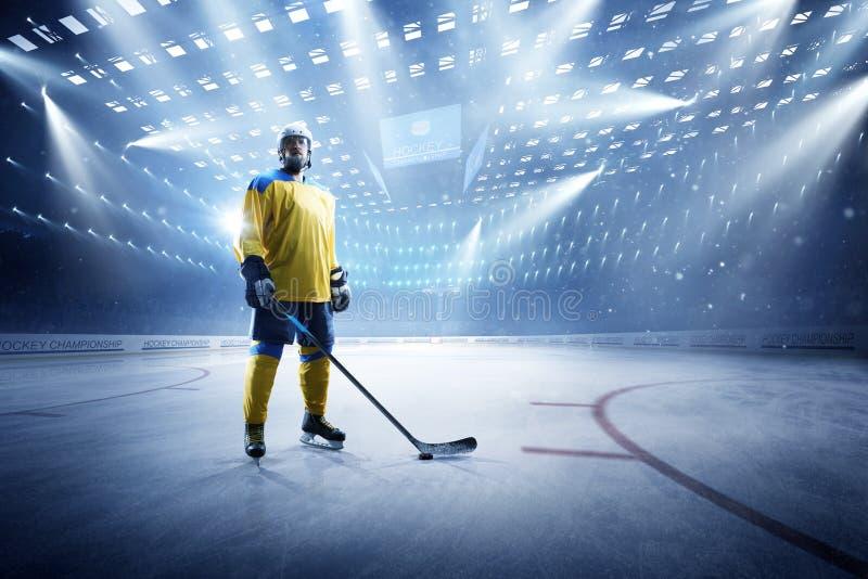 Jogador de hóquei em gelo na arena grande do gelo fotos de stock