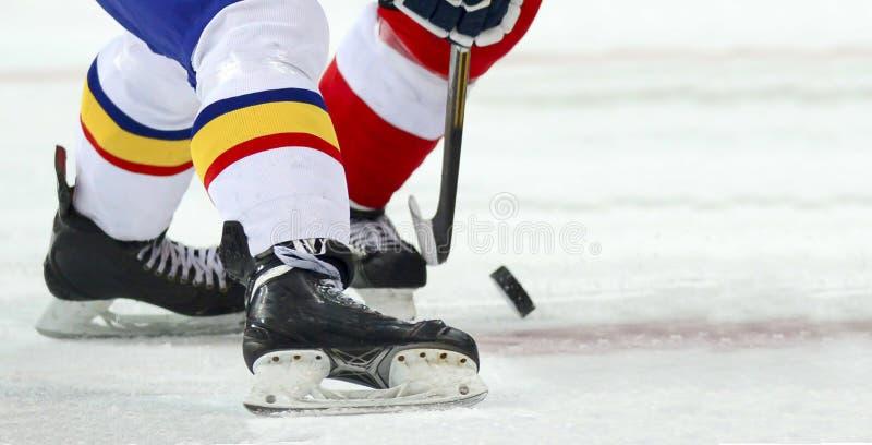 Jogador de hóquei em gelo no gelo fotos de stock