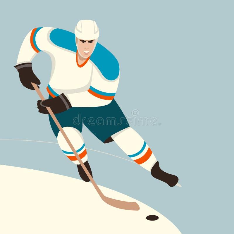 Jogador de hóquei, ilustração do vetor, estilo liso, ilustração stock