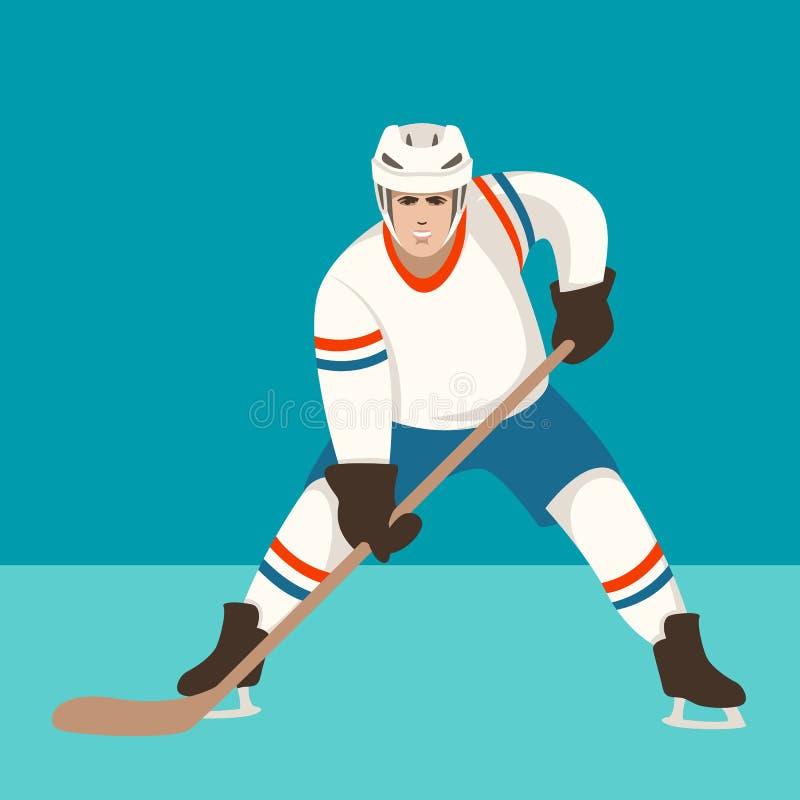 Jogador de hóquei, ilustração do vetor, estilo liso, parte dianteira ilustração royalty free