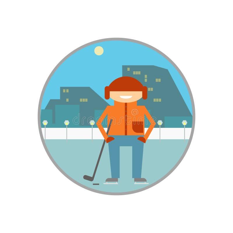 Jogador de hóquei que patina com o clube na pista Paisagem da cidade ilustração do vetor