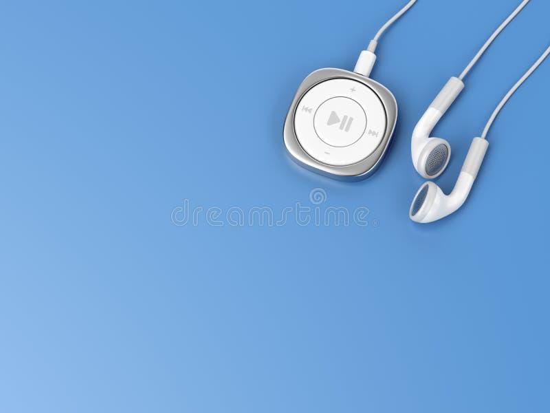 Jogador de música e fones de ouvido prendidos ilustração royalty free