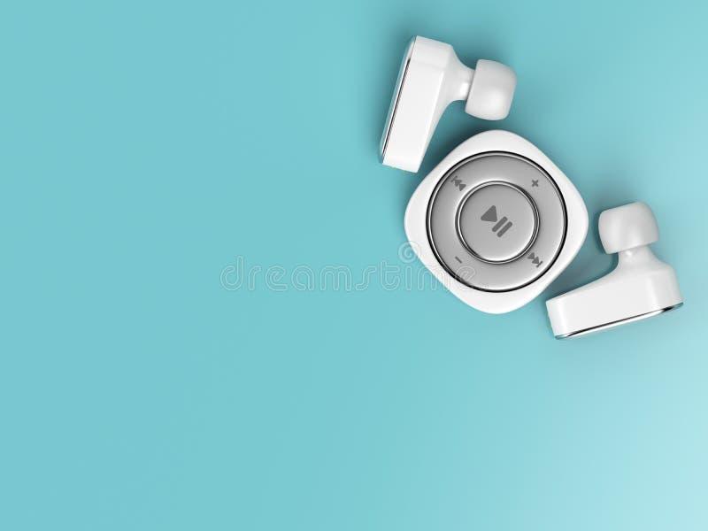 Jogador de música e fones de ouvido sem fio ilustração do vetor