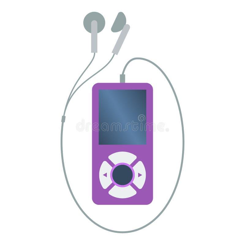 Jogador de música mp3 roxo colorido isolado com os fones de ouvido no fundo branco Ícone liso do projeto ilustração stock