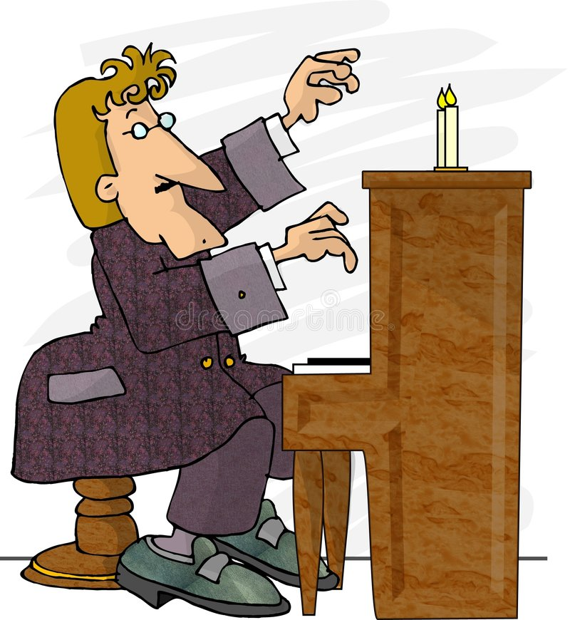 Jogador de piano ilustração royalty free
