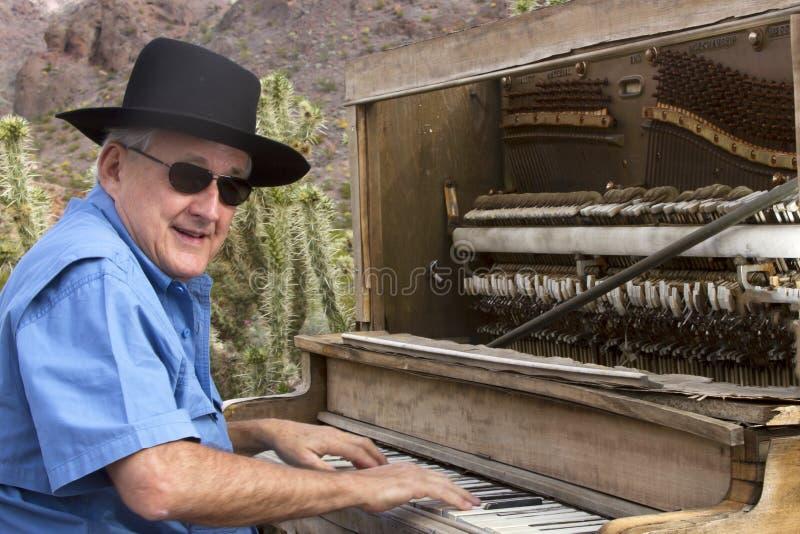 Jogador de piano de Tonk do Honky no deserto imagem de stock royalty free