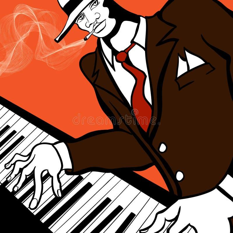 Jogador de piano do jazz ilustração royalty free