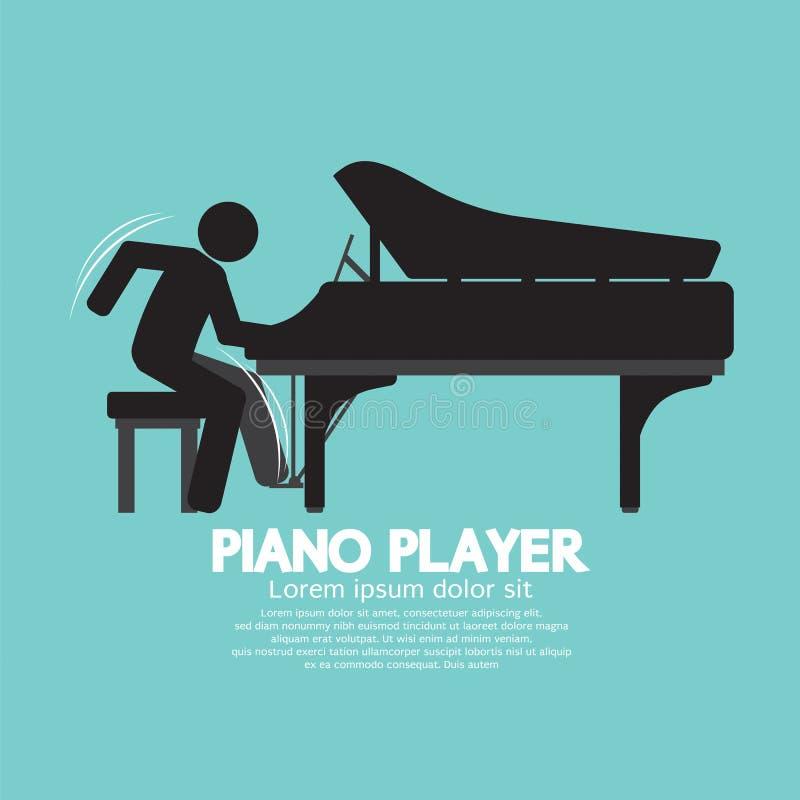 Jogador de piano preto do símbolo ilustração stock