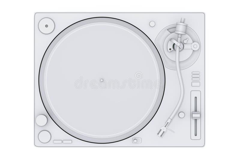 Jogador de registro branco do vinil da plataforma giratória de Clay Style Professional DJ ilustração royalty free