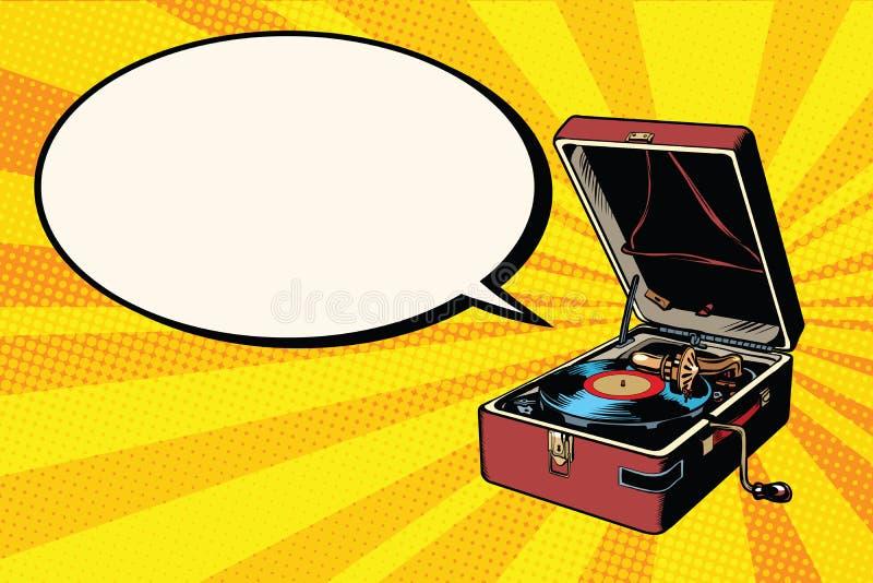 Jogador de registro do vinil do fonógrafo ilustração royalty free
