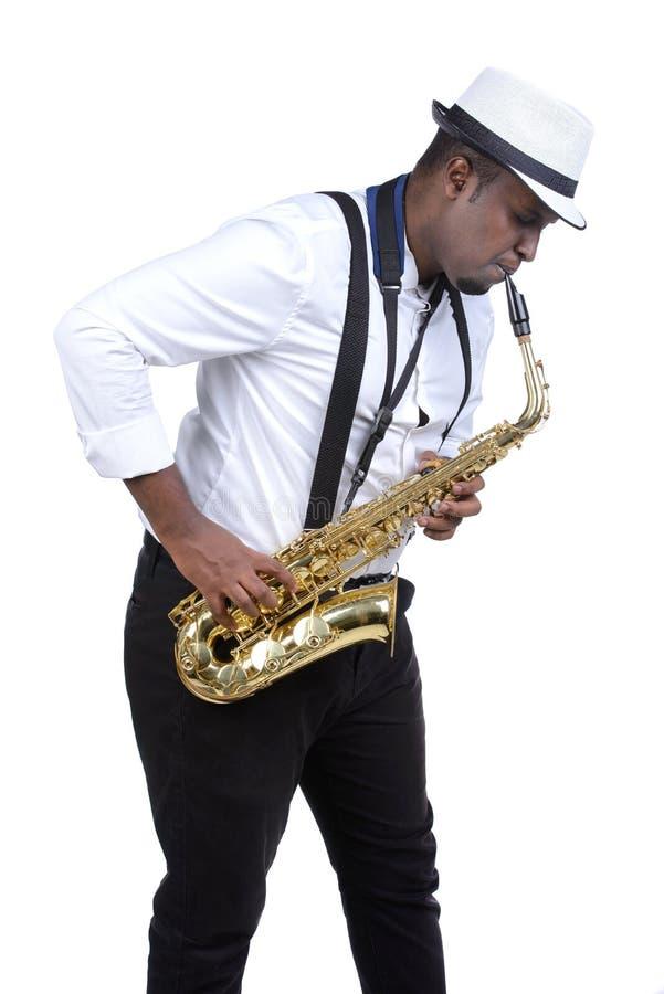 Jogador de saxofone imagens de stock