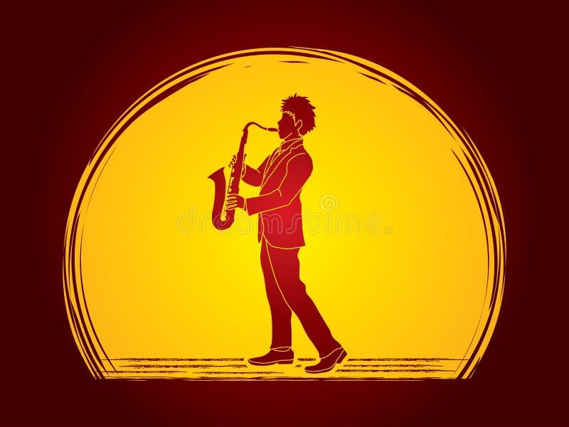 Jogador de saxofone ilustração stock